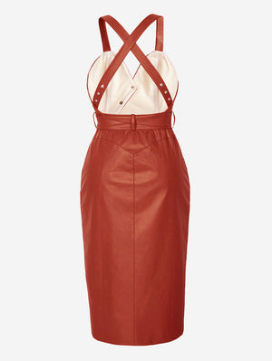 Faux Leather Button-Down Midi Dress In Brick Red - Mint Limit