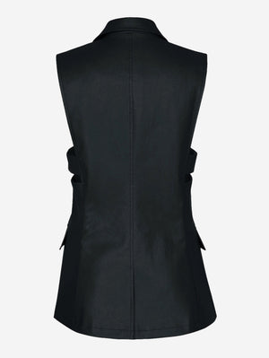 Faux Leather Button Down Vest In Black - Mint Limit