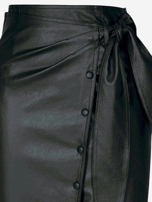 Faux Leather Button-Down Midi Skirt In Black - Mint Limit