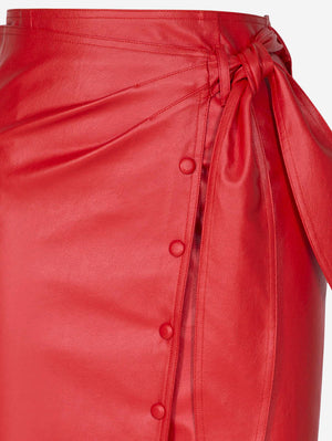 Faux Leather Button-Down Midi Skirt In Red - Mint Limit