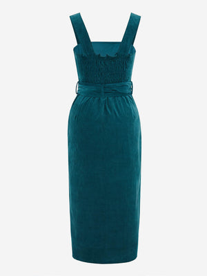Corduroy Button Through Midi Dress In Green - Mint Limit