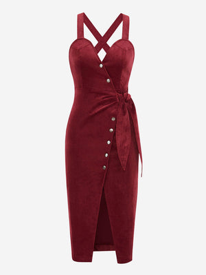 Corduroy Button Front Midi Dress In Red