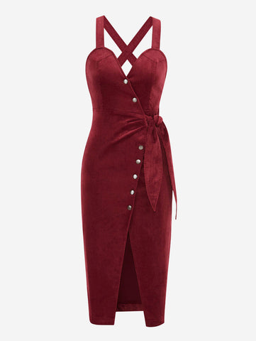 Corduroy Button Front Midi Dress In Red - Mint Limit