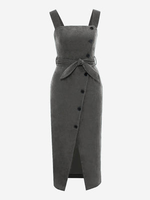 Corduroy Button Through Midi Dress In Grey - Mint Limit