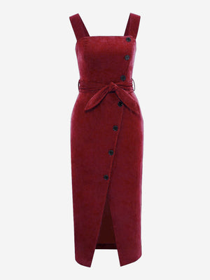 Corduroy Button Through Midi Dress In Red - Mint Limit