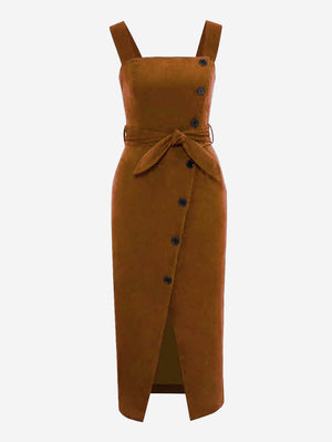 Corduroy Button Through Midi Dress In Brown - Mint Limit