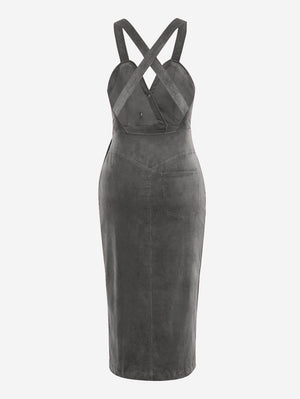 Corduroy Button Front Midi Dress In Grey - Mint Limit