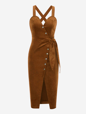 Corduroy Button Front Midi Dress In Brown