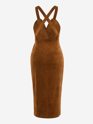 Corduroy Button Front Midi Dress In Brown - Mint Limit