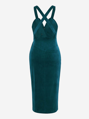 Corduroy Button Front Midi Dress In Green - Mint Limit