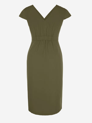 Short Sleeve Button-Down Midi Dress In Khaki - Mint Limit