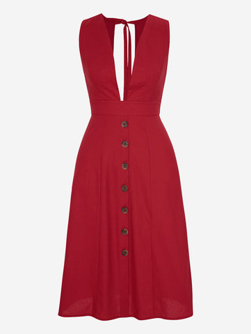 Button Down Midi Dress In Red - Mint Limit