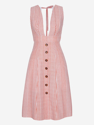 Button-Down Midi Dress In Orange Stripe - Mint Limit