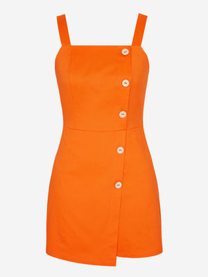 Button Front Romper Dress In Orange - Mint Limit