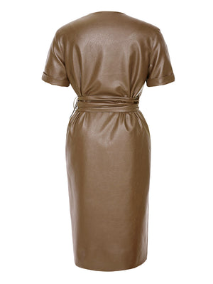 Faux Leather Button-Front Midi Dress In Khaki - Mint Limit