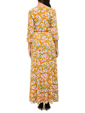 3/4 Sleeve Floral Wrap Maxi Dress - Mint Limit
