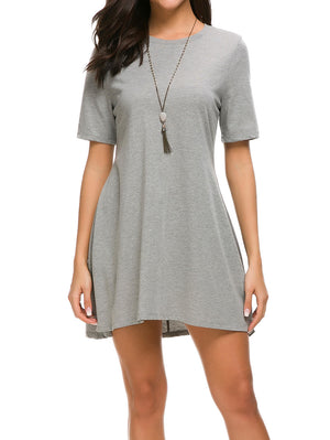 Short Sleeve Tunic Mini Dress - Mint Limit