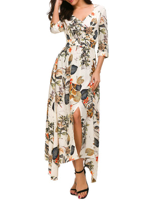 Button Down Floral Maxi Dress - Mint Limit