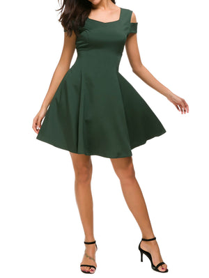 Cold Shoulder Skater Mini Dress - Mint Limit