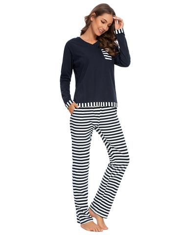 Pocket Front Shirt & Pants Stripe PJ Set In Navy - Mint Limit