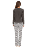 Pocket Front Shirt & Pants Stripe PJ Set In Gray - Mint Limit
