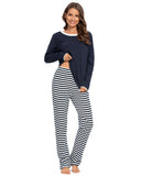 Contrast Neckline Top & Pants PJ Set In Navy - Mint Limit