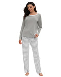 Contrast Neckline Top & Pants PJ Set In Gray - Mint Limit
