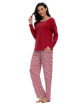 Contrast Neckline Top & Pants PJ Set In Wine Red - Mint Limit
