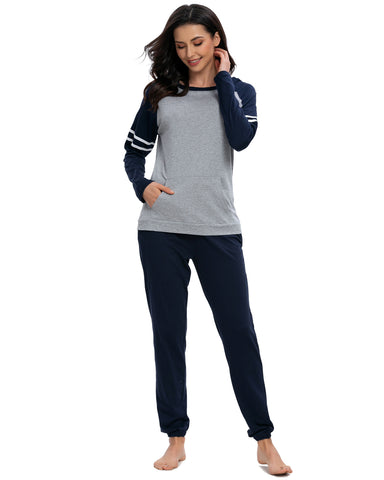Contrast Patchwork Top & Pants PJ Set In Navy - Mint Limit