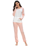 Contrast Patchwork Top & Pants PJ Set In Pink - Mint Limit