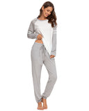 Contrast Patchwork Top & Pants PJ Set In Gray - Mint Limit