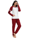 Contrast Patchwork Top & Pants PJ Set In Wine Red - Mint Limit