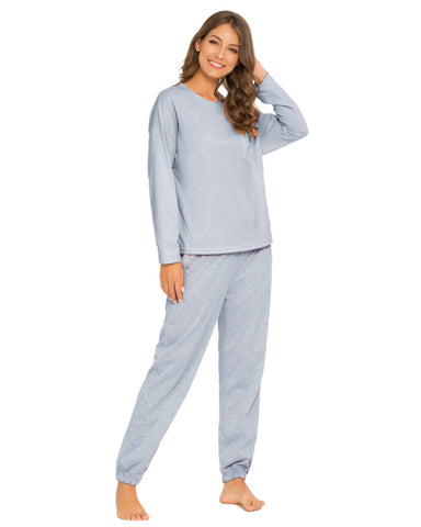 Pocket Front Top & Pants PJ Set In Blue - Mint Limit