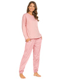 Pocket Front Top & Pants PJ Set In Pink - Mint Limit