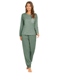 Pocket Front Top & Pants PJ Set In Green - Mint Limit