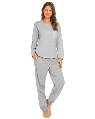 Pocket Front Top & Pants PJ Set In Gray - Mint Limit