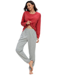 Pocket Front Top & Pants PJ Set In Red - Mint Limit