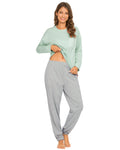 Pocket Front Top & Pants PJ Set In Light Green - Mint Limit