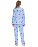 Feather Pattern Shirt & Pants PJ Set In Blue - Mint Limit