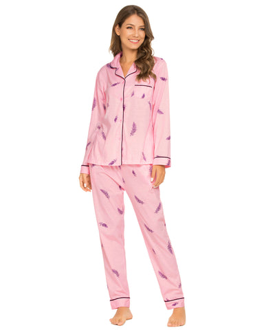 Feather Pattern Shirt & Pants PJ Set In Pink - Mint Limit