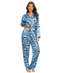Rabbit Pattern Satin Shirt & Pants PJ Set In Blue - Mint Limit