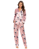 Rabbit Print Satin Shirt & Pants PJ Set In Pink - Mint Limit