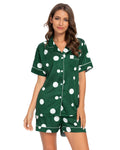 Polka Dot Shirt & Shorts PJ Set In Green - Mint Limit