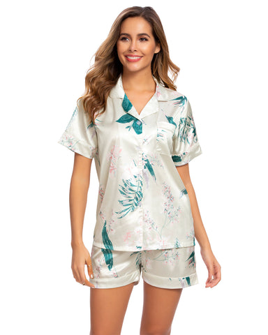 Floral & Leaf Print Satin Shirt & Shorts PJ Set In White - Mint Limit