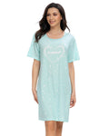 Heart Print Sleep Dress In Blue - Mint Limit