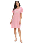 Bow Knot Print Sleep Dress In Pink - Mint Limit