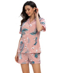 Crane Print Top & Shorts PJ Set In Pink - Mint Limit