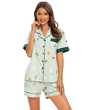 Fresh Print Top & Shorts PJ Set In Green - Mint Limit