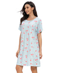 Cherry Print Sleep Dress In Blue - Mint Limit