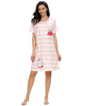 Cloud Print Sleep Dress In Pink - Mint Limit